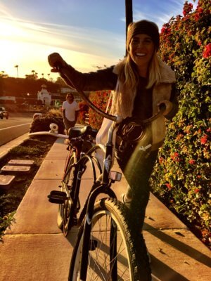 Fahrrad fahren in Kalifornien mit Kind